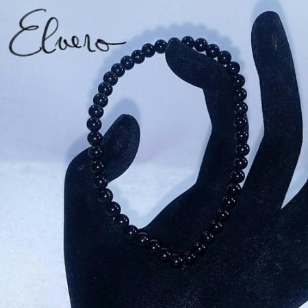 Bratara elastica turmalina neagra, 17 cm lungime