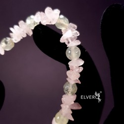 Bratara elastica cuart roz, prehnit. Muguri de Primăvară în Suflet