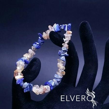 Bratara elastica cu lapis lazuli si cuart rutilat