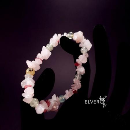 Bratara elastica cuart roz, turmalina roz, prehnit. Muguri de Primăvară în Suflet
