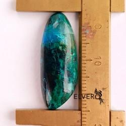 Crisocola cu malachit cabochon, piatră semiprețioasă