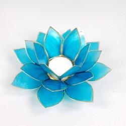 Candela Lotus din sidef de culoare albastră corespondență cu chakra gâtului, comunicării, Vishuda