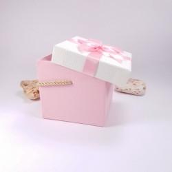 Cutie din carton, cu capac, culoare roz, 12 cm