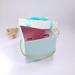 Cutie din carton, cu capac, culoare turcoaz, 12 cm