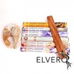 Pachet betisoare parfumate HEM, salvie alba si suport din lemn