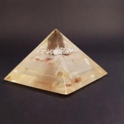 Piramida cu argint, cuart fumuriu, selenit
