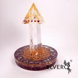 Ansamblu orgonic disc-cristal-piramida cu aur 24K
