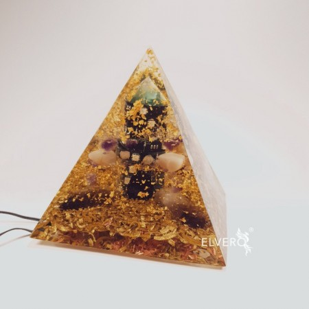 Piramida luminoasa cu aur 24K si bagheta din fluorina