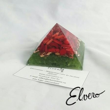 Piramida orgonica cu cuart laser, coral si peridot