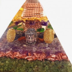 Piramida orgonica cu aur 24K, bagheta mare de cuart si pietre semiprețioase. Armonie și bunăstare.