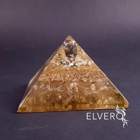 Piramida cu argint, cuart fumuriu si cuart alb