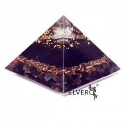 Piramidă orgonică floarea vieții, shungit, onix, chihlimbar, hematit, foiță de aur 24K