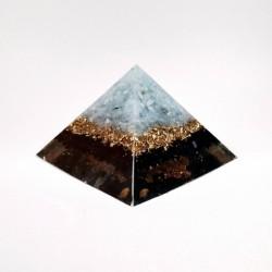 Piramidă orgon din turmalină neagră, agat albastru și cuarț