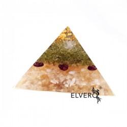 Piramida bunăstării cu aur, peridot, granat, citrin, cuart