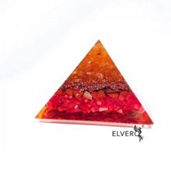 Piramidă orgon din citrin, jasp și coral roșu