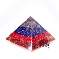 Piramidă orgon din lapis lazuli, coral roșu și cuarț