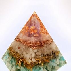 Piramidă orgon din amazonit, selenit, cuarț și baghetă mare de ametist
