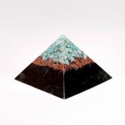 Piramidă orgon din turmalină neagră, amazonit și cuarț