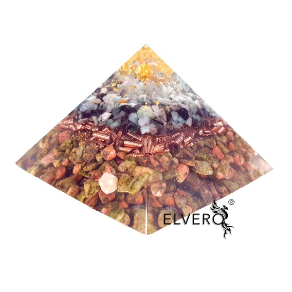 Piramidă orgonica din aur, smarald, unakit și cuarț