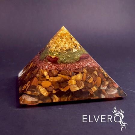 Piramida abundentei, aur 24K, granat rosu, ochi de tigru, cuart