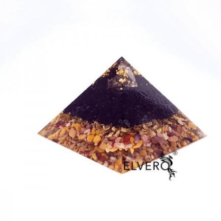Piramidă orgon din aur, turmalină neagră, jasp și cuarț