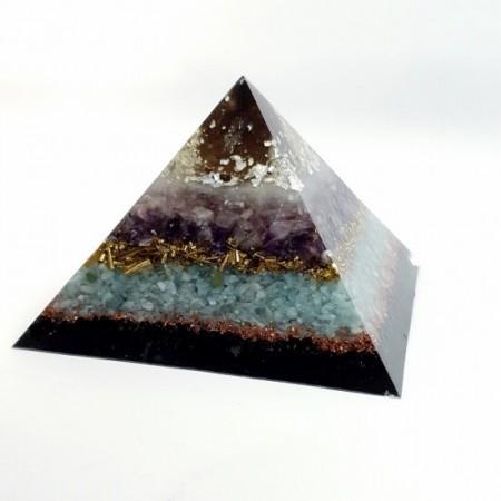 Piramida orgon din cristal mare de cuart fumuriu, argint, ametist,selenit, calcedonie, turmalina neagra