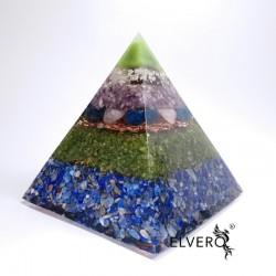 Piramida orgonica cu argint, bagheta mare de cuart fumuriu si pietre semiprețioase. Armonie și bunăstare.