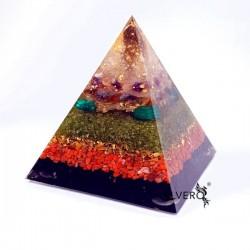 Piramidă mare orgonică cu aur pur si pietre semiprețioase