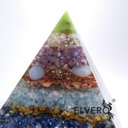 Piramida orgon cu argint, bagheta mare de cuart fumuriu si pietre semiprețioase. Armonie și elevare spirituală