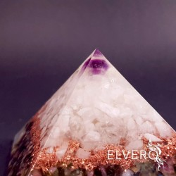 Piramida orgonica din ametist, cuart, turmalina multicolora