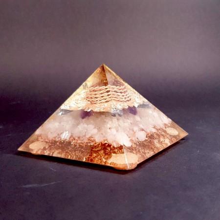 Piramida cu argint, cianit, ametist, cuart fumuriu