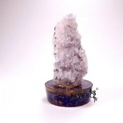 Eșantion unicat geodă cuarț cu pirită și cobalto calcit pe suport orgonic din lapis lazuli și cuarț