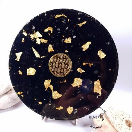 Floarea Vietii, disc protector energetic cu aur 24K, turmalina neagra, cuart, 18 cm