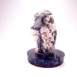 Eșantion unicat geodă cuarț cu calcopirită și manganocalcit pe suport orgonic din lapis lazuli și cuarț