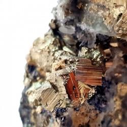 Eșantion mineral pirită cubică, cuarț, galenă pe suport orgonic din lapis lazuli, 1170