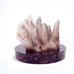 Eșantion mineral din cristale de cuarț pe suport orgonic turmalină neargă