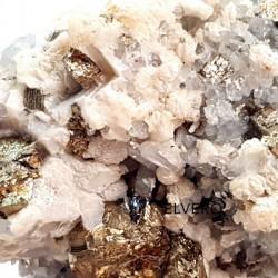 Eșantion unicat cristale cuarț cu pirită și calcit suport orgonic, 1169