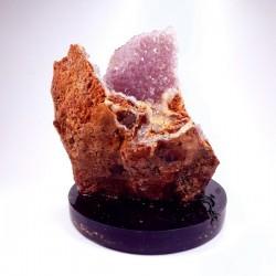 Geoda de ametist pe suport orgonic din turmalină neargă