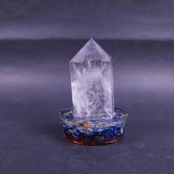 Baghetă de cuarț fațetat pe suport orgonic din lapis lazuli
