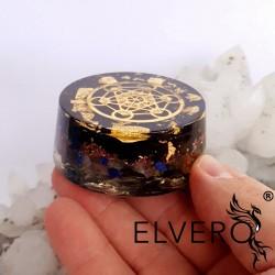 Disc protector energetic cu aur, argint, turmalina, cubul lui Metatron