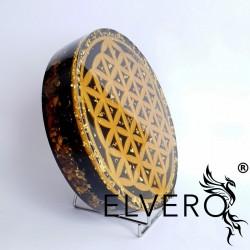 Floarea Vietii, disc orgon mare, cu aur 24 K, protecție energetică și electromagnetică