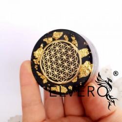 Floarea Vietii, disc protector energetic cu aur 24 K, argint, turmalina neagra