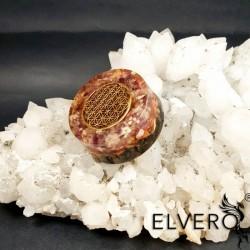 Floarea vietii, Disc terapeutic cu fenacit, rodizit, cuart tibetan cu dubla terminatie, ametist, lepidolit
