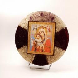 Icoana Fecioara Maria cu pruncul Iisus din pietre semipretioase