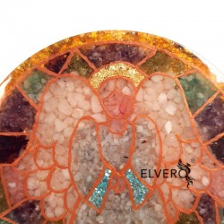 Icoană gen vitraliu cu înger, din pietre semiprețioase